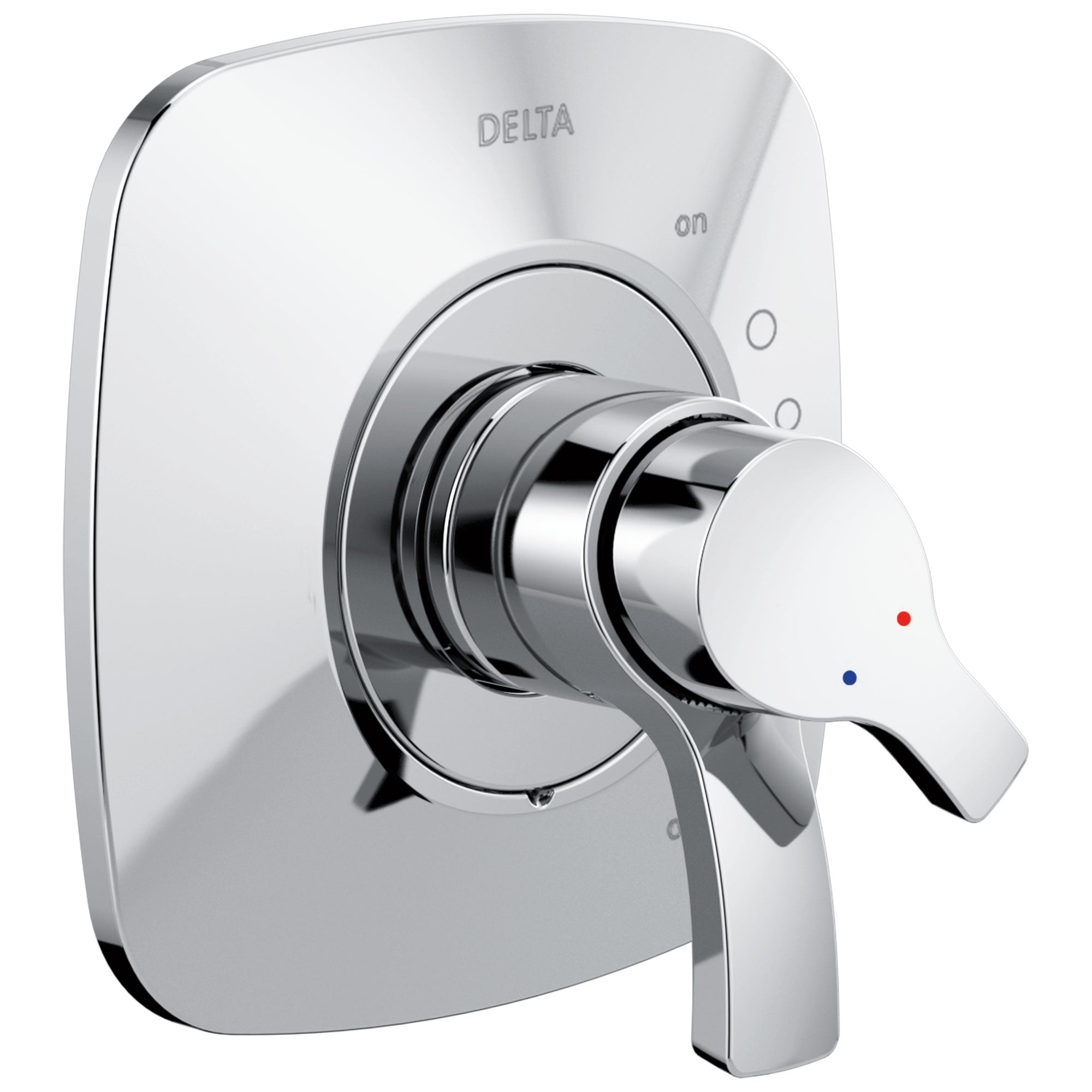 Delta Tesla Collection Chrome Monitor 17 Dual Temperature and Water Pressure Shower Faucet Control Handle Trim Kit (Valve Sold Separately) 732790