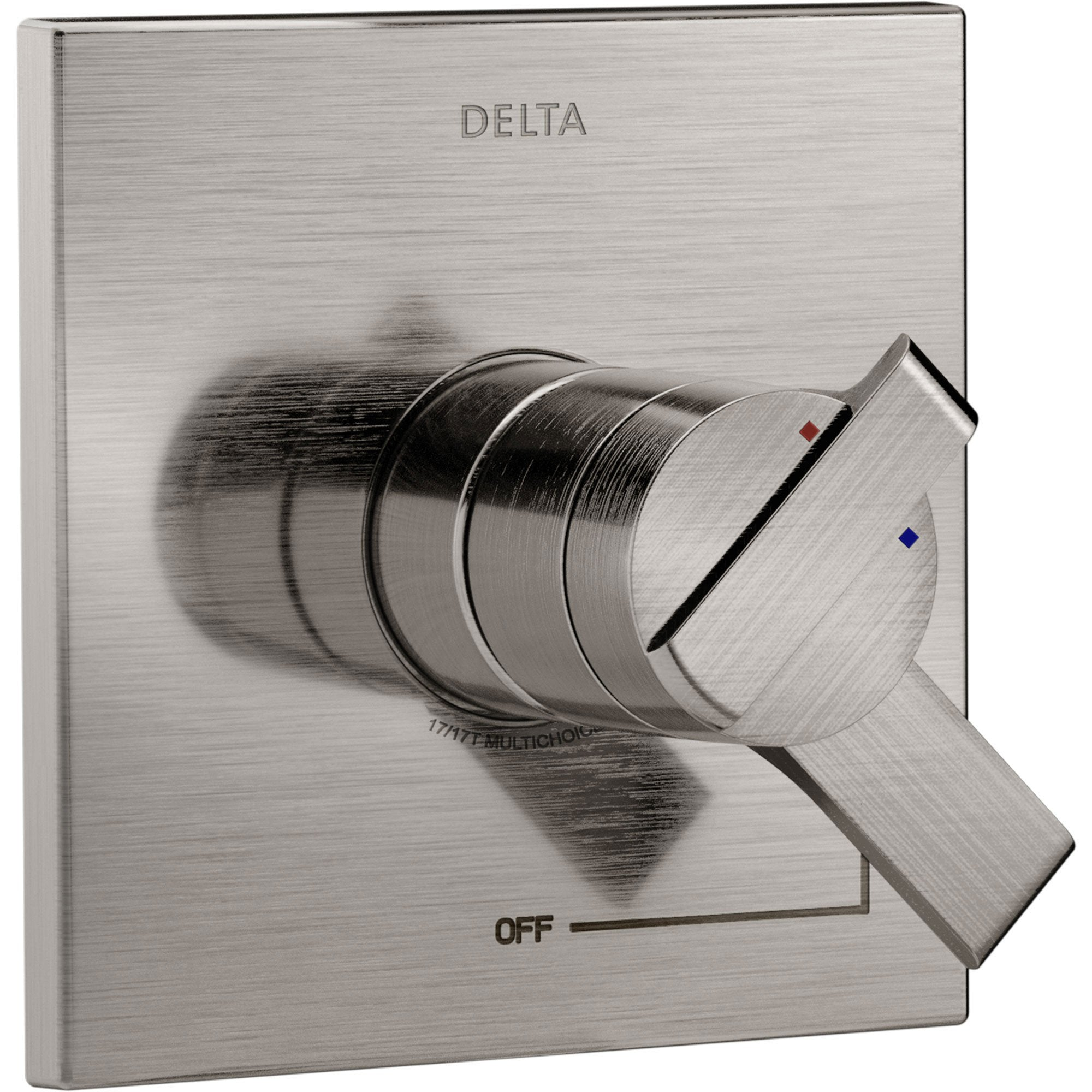 Delta Ara Modern Stainless Steel Finish 17 Series Dual Temperature and Pressure Shower Faucet Control INCLUDES Rough-in Valve with Stops D1149V