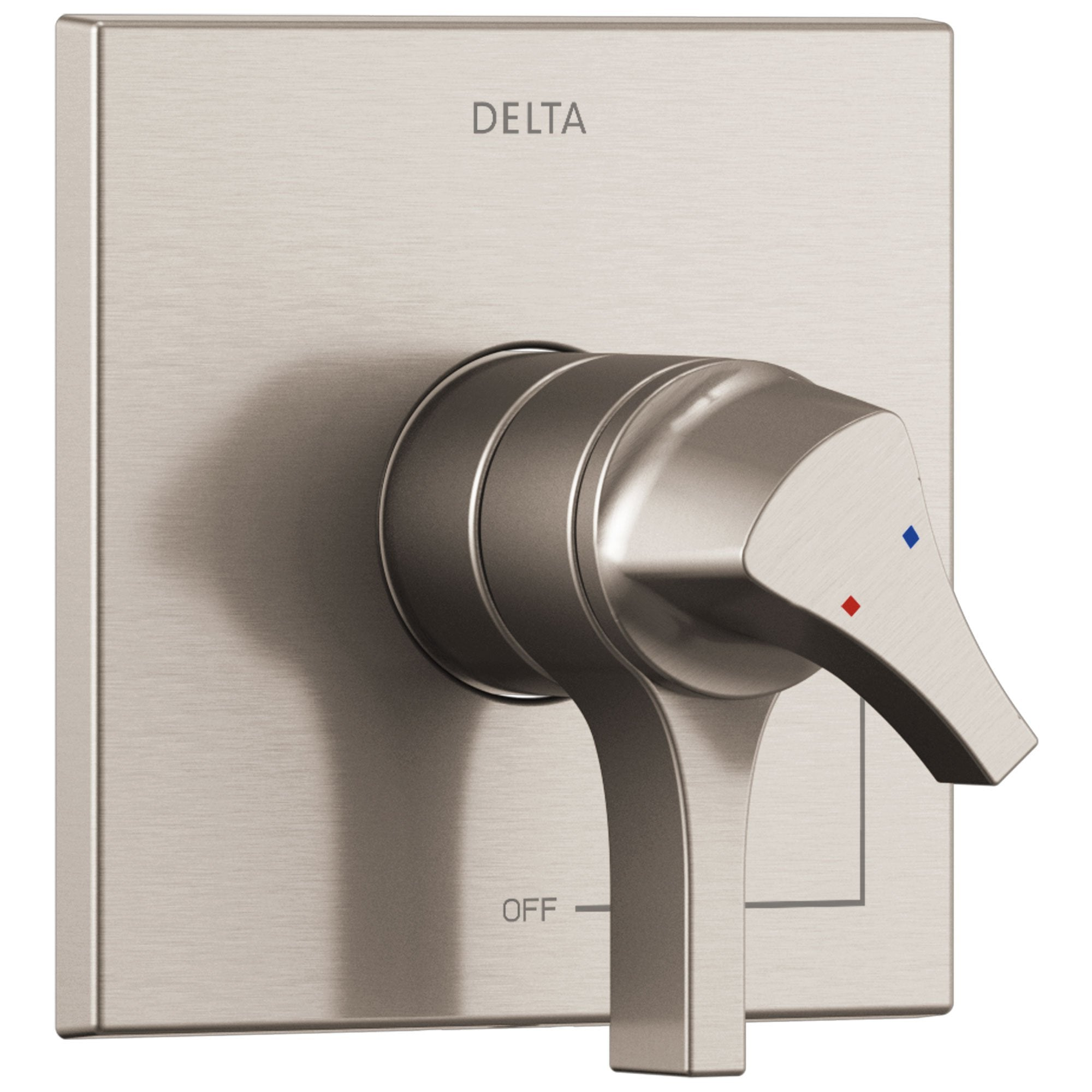 Delta Zura Stainless Steel Finish Monitor 17 Dual Temperature and Water Pressure Shower Faucet Control Handle Includes Trim Kit and Valve with Stops D1973V