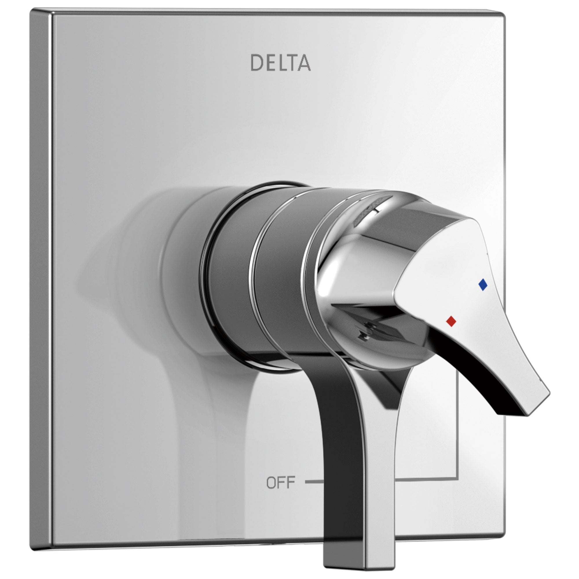 Delta Zura Collection Chrome Monitor 17 Dual Temperature and Water Pressure Shower Faucet Control Handle Includes Trim Kit and Valve with Stops D1977V