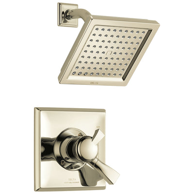 Delta Dryden Polished Nickel Finish Monitor 17 Series Water Efficient Shower only Faucet Includes Handles, Cartridge, and Valve with Stops D3390V