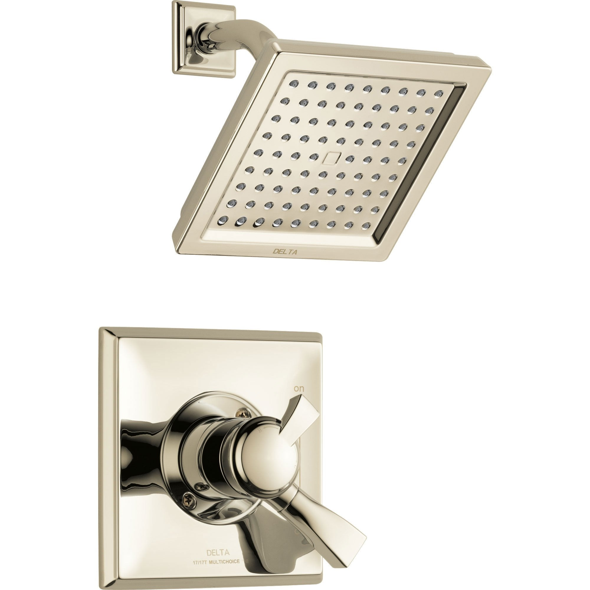 Delta Dryden Modern Square Polished Nickel Finish Shower Only Faucet with Dual Temperature and Pressure Control INCLUDES Rough-in Valve with Stops D1147V