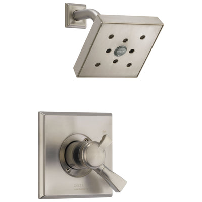 Delta Dryden Collection Stainless Steel Finish Shower Faucet with Temp / Pressure Control Double Handle Includes Rough Valve with Stops D2342V