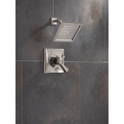 Delta Dryden Stainless Steel Finish Monitor 17 Series Water Efficient Shower only Faucet Includes Handles, Cartridge, and Valve without Stops D3385V