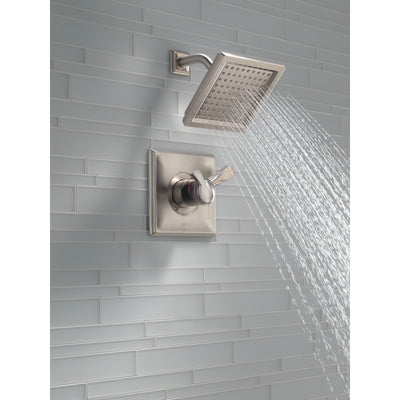 Delta Dryden Stainless Steel Finish Monitor 17 Series Water Efficient Shower only Faucet Includes Handles, Cartridge, and Valve with Stops D3386V