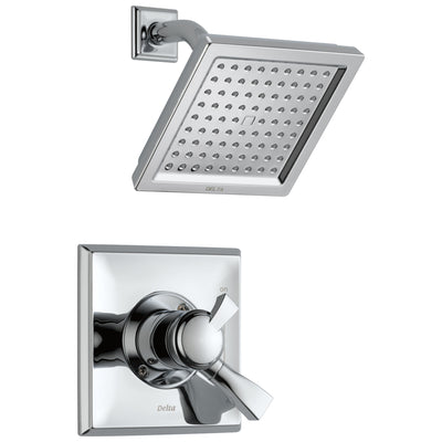Delta Dryden Collection Chrome Monitor 17 Modern Water Efficient Dual Control Shower Faucet with Square Showerhead Includes Rough Valve with Stops D2340V