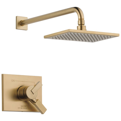 Delta Vero Champagne Bronze Finish Monitor 17 Series Water Efficient Shower only Faucet Includes Handles, Cartridge, and Valve without Stops D3383V