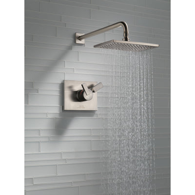 Delta Vero Stainless Steel Finish Monitor 17 Series Water Efficient Shower only Faucet Includes Handles, Cartridge, and Valve without Stops D3379V