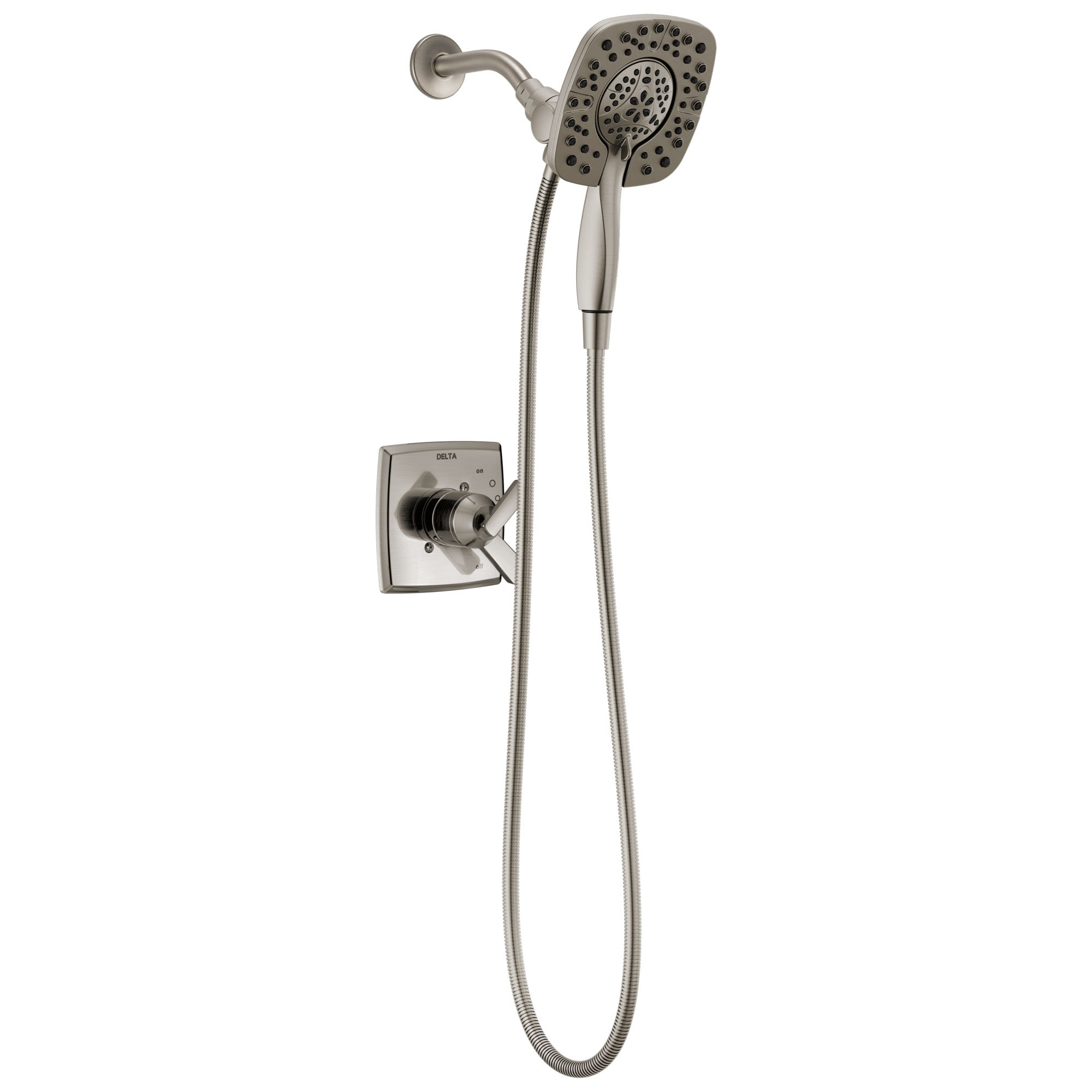 Delta Ashlyn Stainless Steel Finish Monitor 17 Series Shower Only Faucet with In2ition Two-in-One Hand Shower Spray INCLUDES Rough-in Valve with Stops D1133V