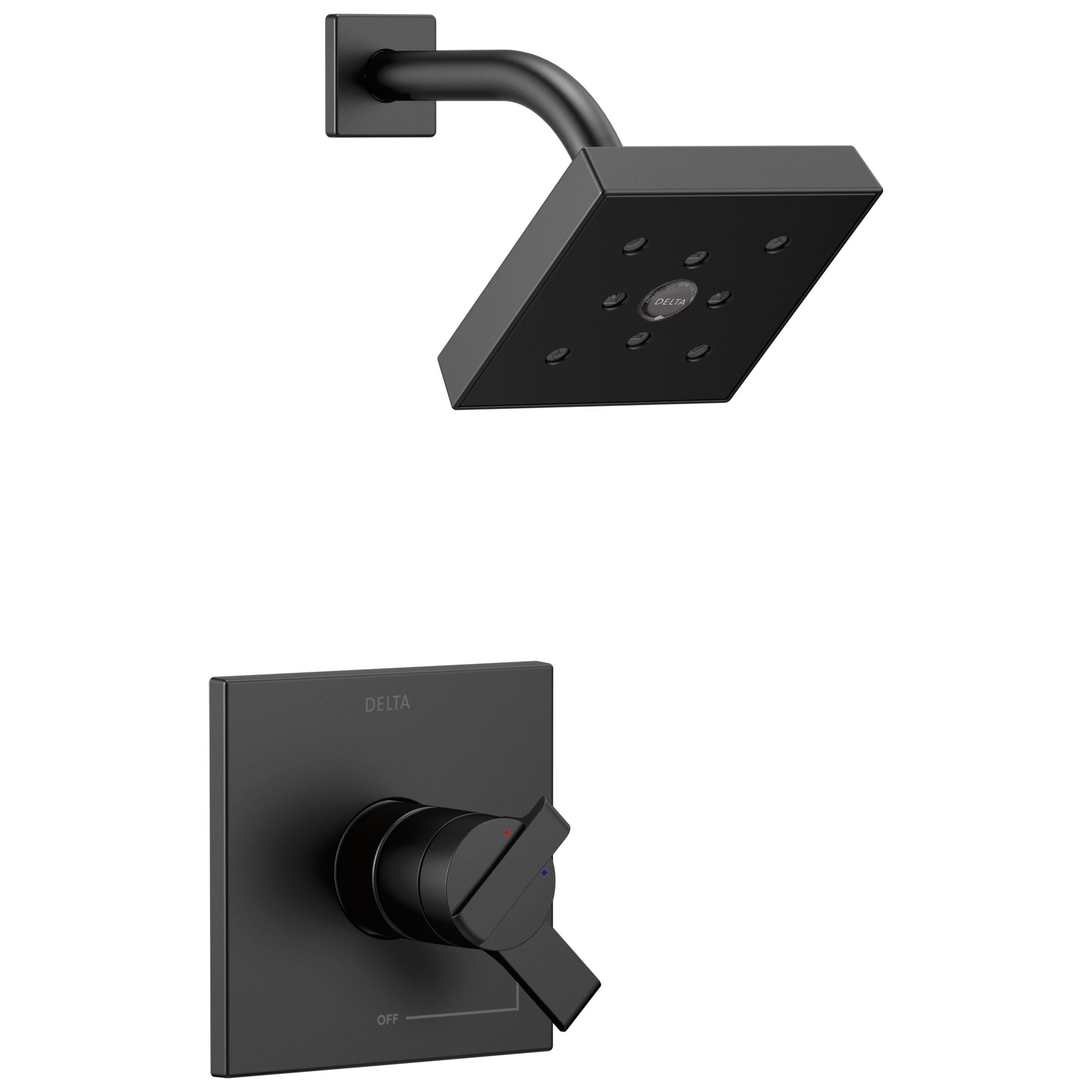 Delta Ara Collection Matte Black Finish Dual Water Pressure and Temperature Control Watersense Shower Only Faucet Includes Rough Valve with Stops D2328V