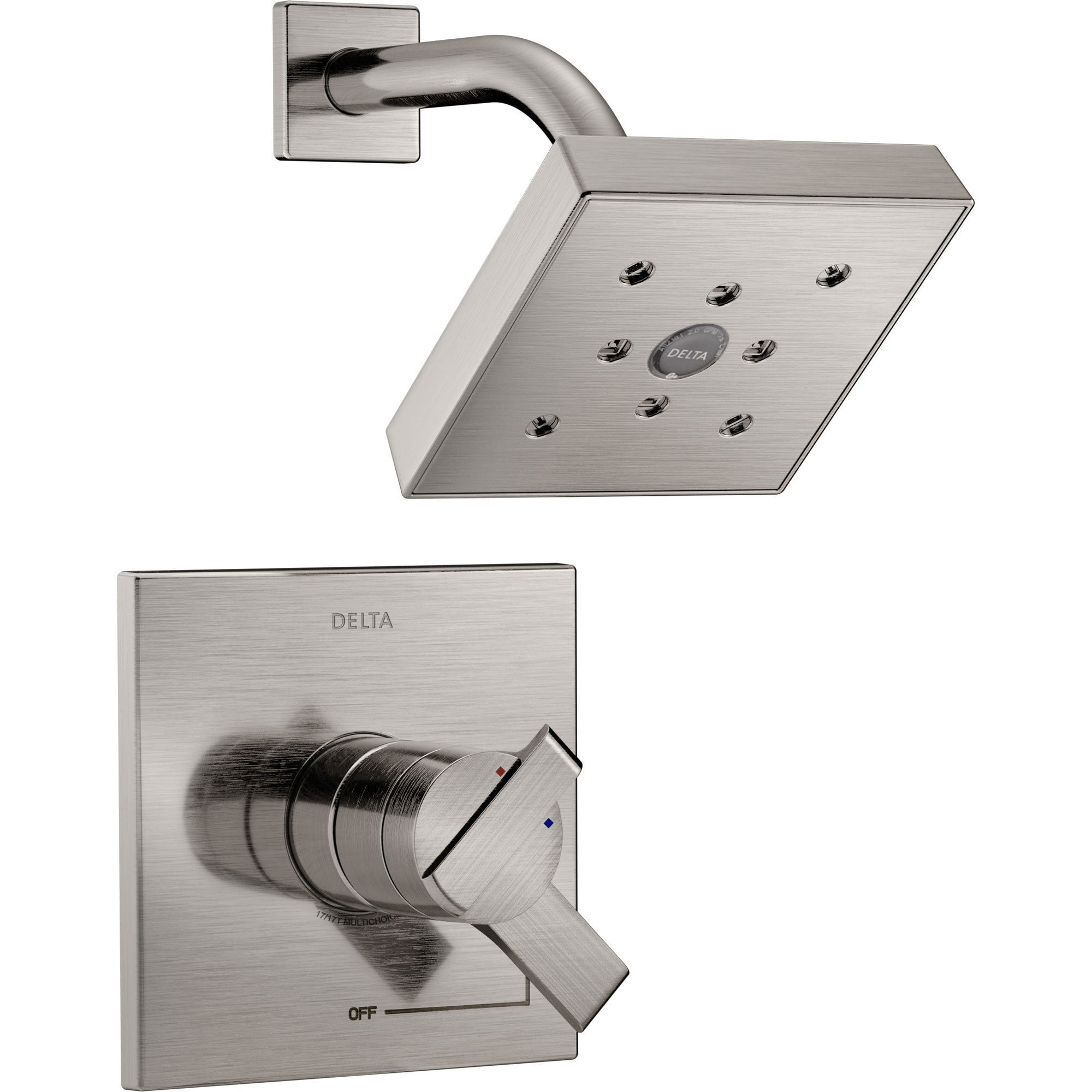 Delta Ara Modern Stainless Steel Finish H2Okinetic Shower Only Faucet with Dual Temperature and Pressure Control INCLUDES Rough-in Valve with Stops D1131V