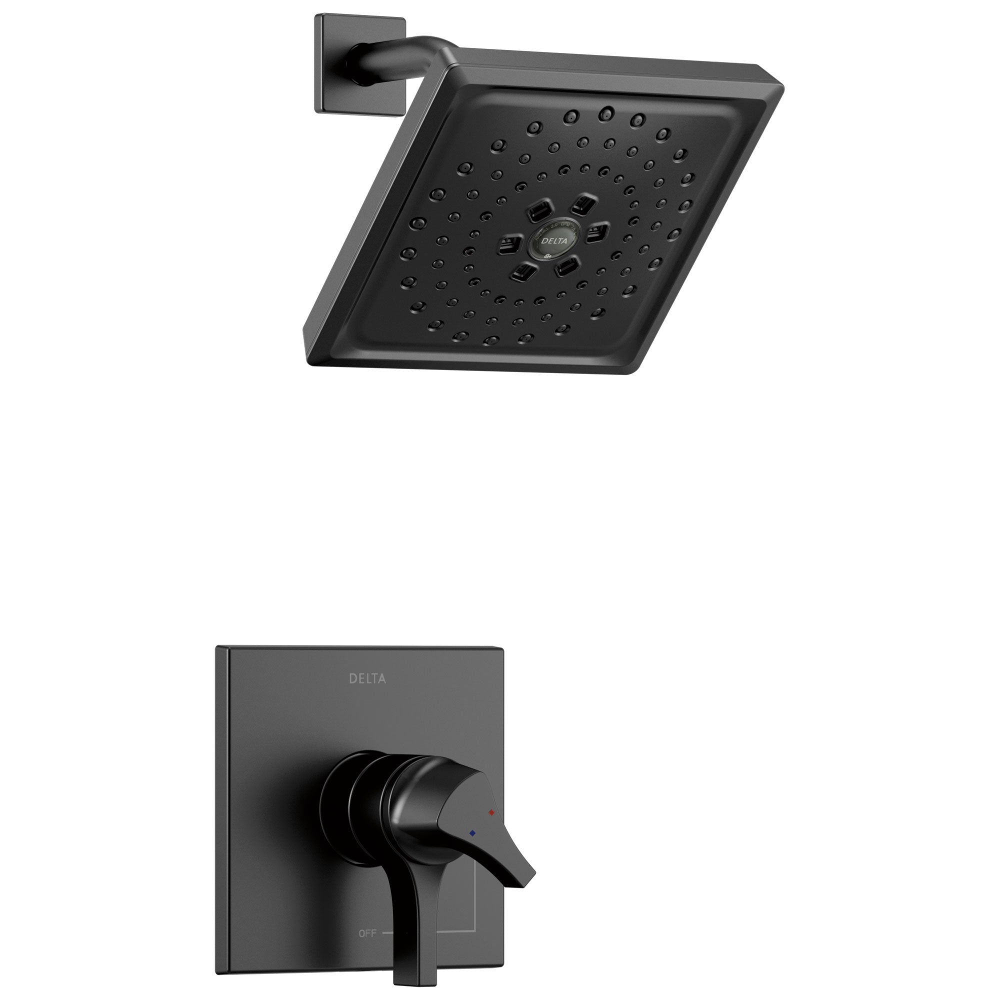 Delta Zura Matte Black Finish Monitor 17 Series H2Okinetic Shower Only Faucet with Handles, Cartridge, and Valve with Stops D3374V