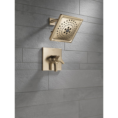 Delta Zura Champagne Bronze Finish Monitor 17 Series H2Okinetic Shower Only Faucet with Handles, Cartridge, and Valve with Stops D3372V