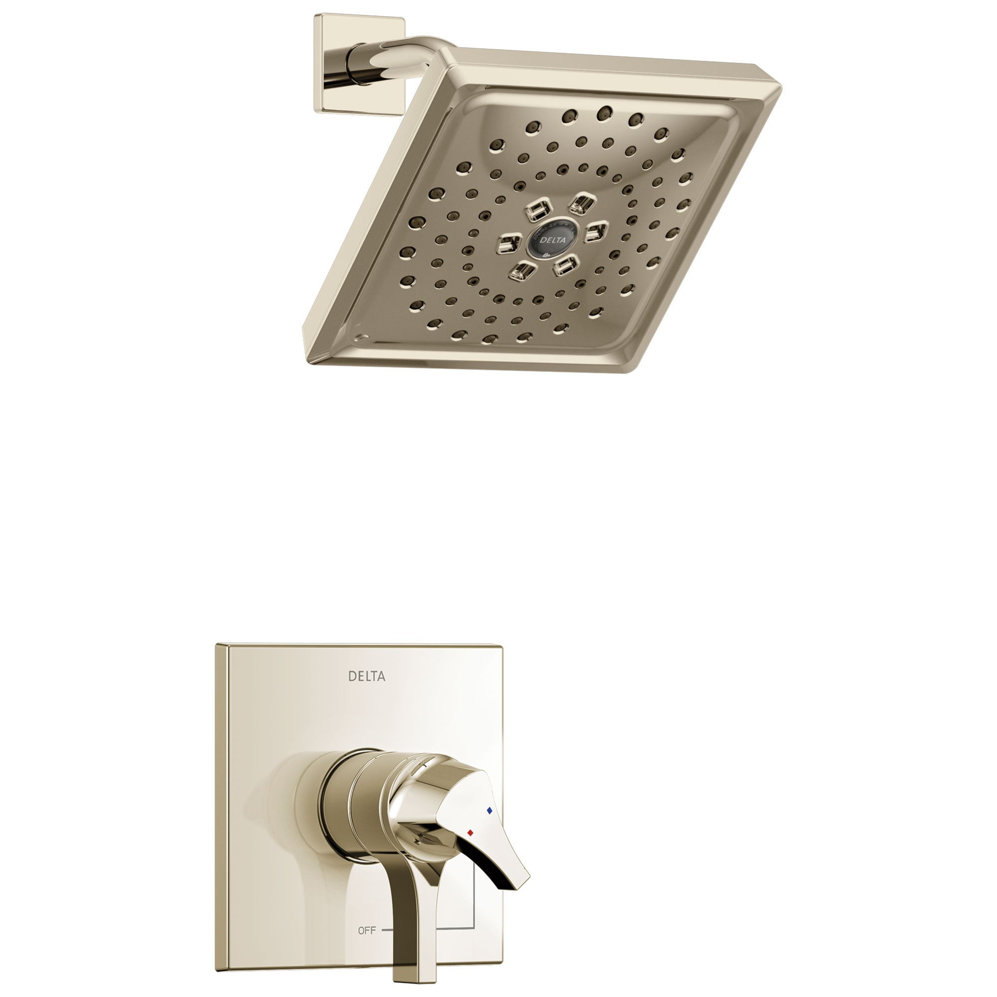 Delta Zura Collection Polished Nickel Modern Monitor 17 Dual Temperature and Pressure Shower only Faucet Control Handle Trim (Requires Valve) 743928