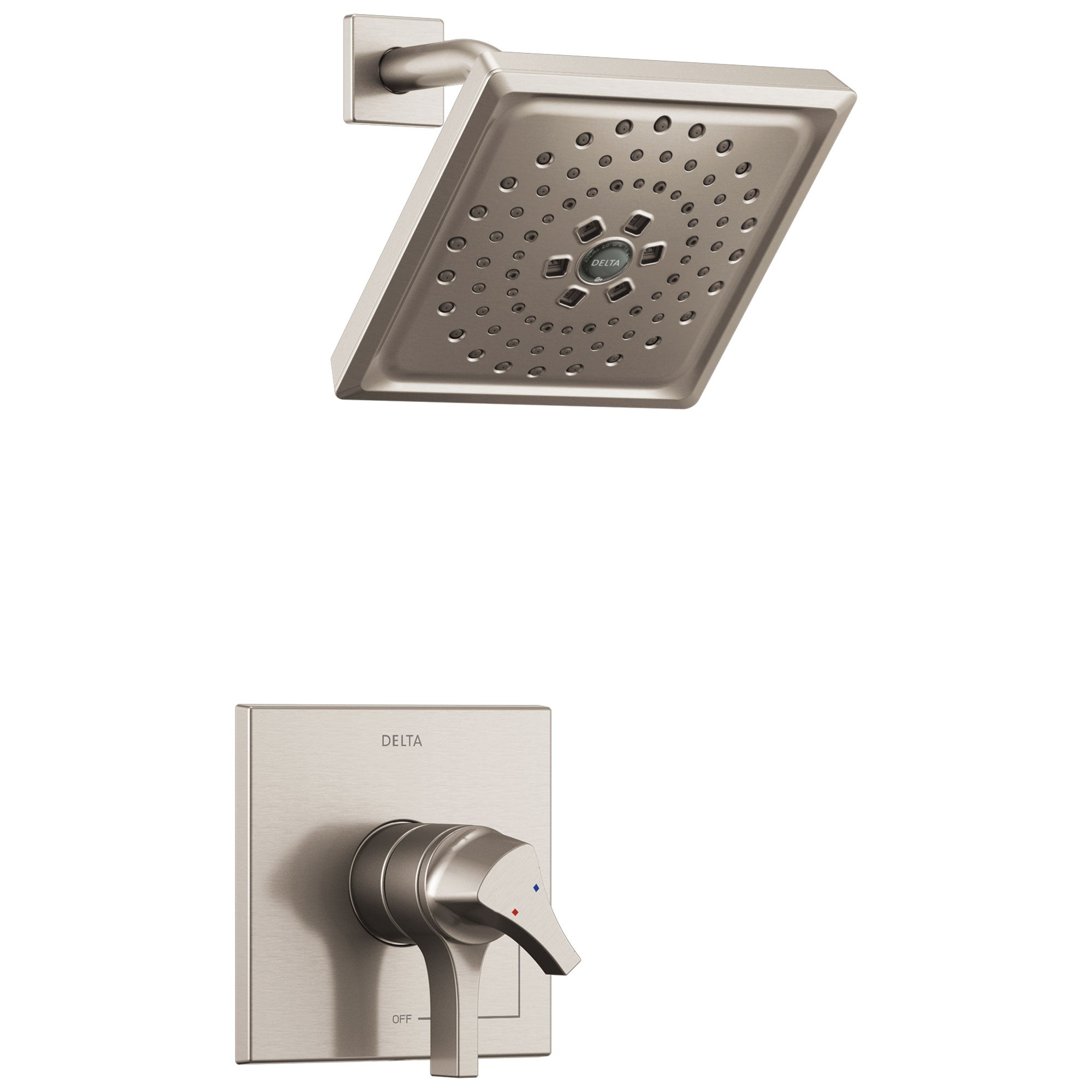 Delta Zura Collection Stainless Steel Finish Modern Dual Temperature and Pressure Shower only Faucet Control Handle Includes Rough-in Valve with Stops D1967V