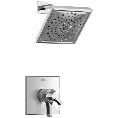 Delta Zura Collection Chrome Modern Monitor 17 Dual Temperature and Pressure Shower only Faucet Control Handle Includes Trim Kit and Valve without Stops D1970V