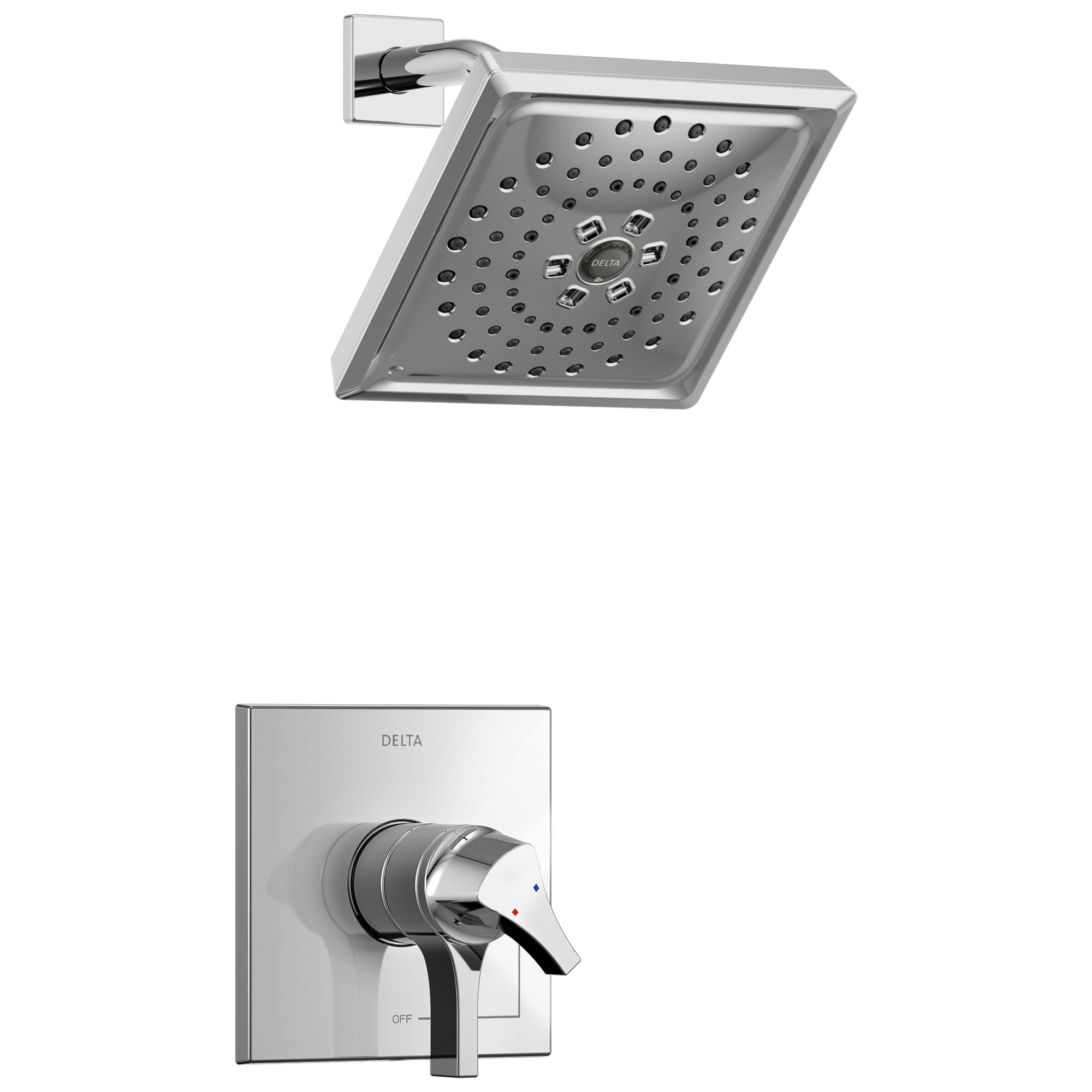 Delta Zura Collection Chrome Modern Monitor 17 Dual Temperature and Pressure Shower only Faucet Control Handle Trim (Valve Sold Separately) 743927