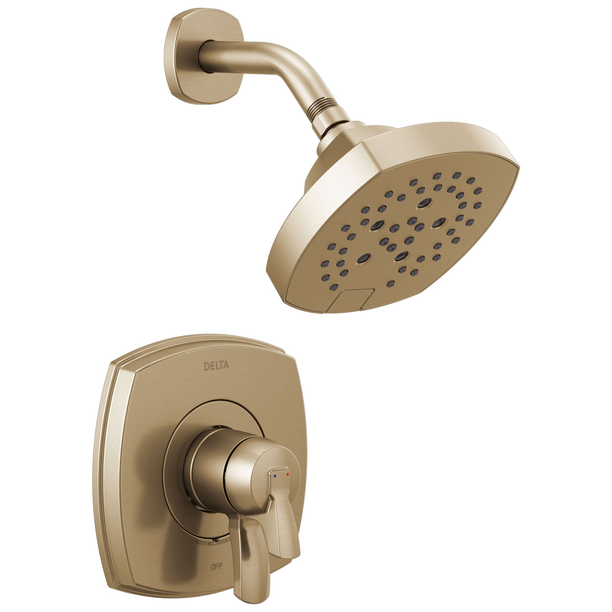 Delta Stryke Champagne Bronze Finish Monitor 17 Series Shower Only Faucet Includes Handles, Cartridge, and Valve with Stops D3366V