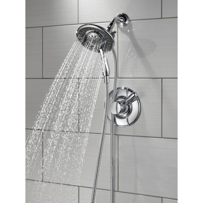Delta Linden Collection Chrome Monitor 17 Dual Control Shower only Faucet with Handspray and Showerhead Combo Includes Rough Valve without Stops D2323V