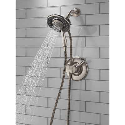 Delta Linden Collection Stainless Steel Finish Dual Control Shower only Faucet with Handspray and Showerhead Combo Trim (Requires Valve) DT17293SSI