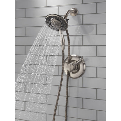 Delta Linden Stainless Steel Finish Dual Control Shower only Faucet with Handspray and Showerhead Combo Includes Trim Kit and Rough Valve without Stops D2315V