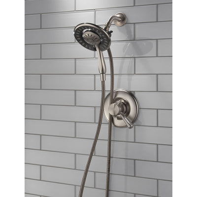 Delta Linden Stainless Steel Finish Dual Control Shower only Faucet with Handspray and Showerhead Combo Includes Trim Kit and Rough Valve with Stops D2316V