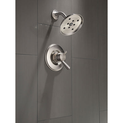 Delta Linden Stainless Steel Finish Shower only Faucet with Temperature and Pressure Control Handles Includes Trim Kit and Rough Valve without Stops D2317V