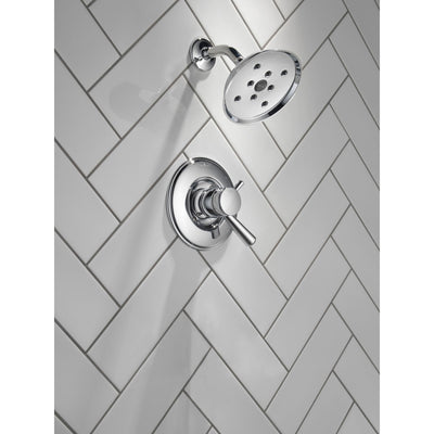 Delta Linden Collection Chrome Monitor 17 Shower only Faucet Trim with Separate Temperature and Pressure Controls Includes Rough Valve without Stops D2325V