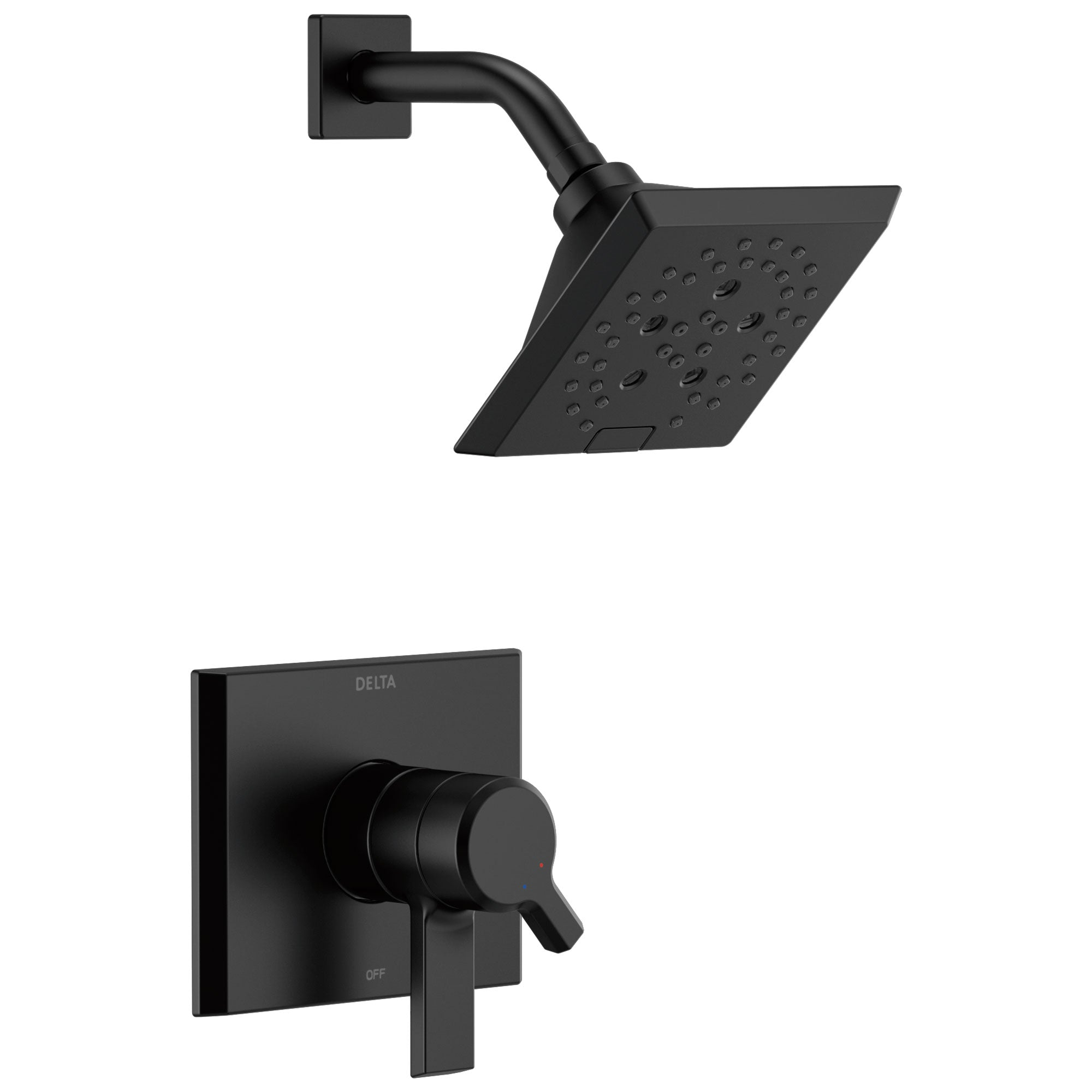 Delta Pivotal Modern Matte Black Finish H2Okinetic Shower only Faucet Includes 17 Series Cartridge, Handles, and Valve with Stops D3360V
