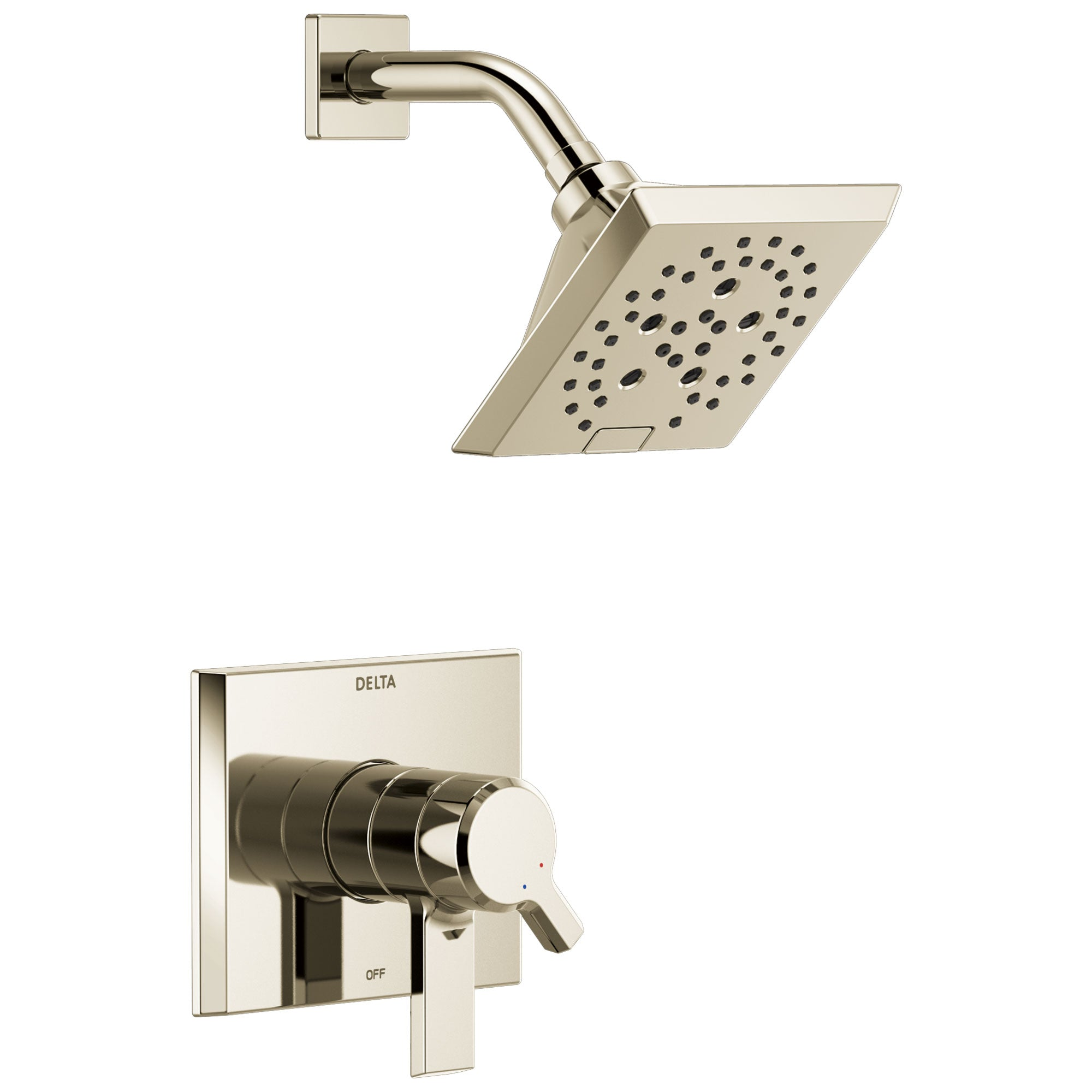 Delta Pivotal Modern Polished Nickel Finish H2Okinetic Shower only Faucet Includes 17 Series Cartridge, Handles, and Valve with Stops D3358V