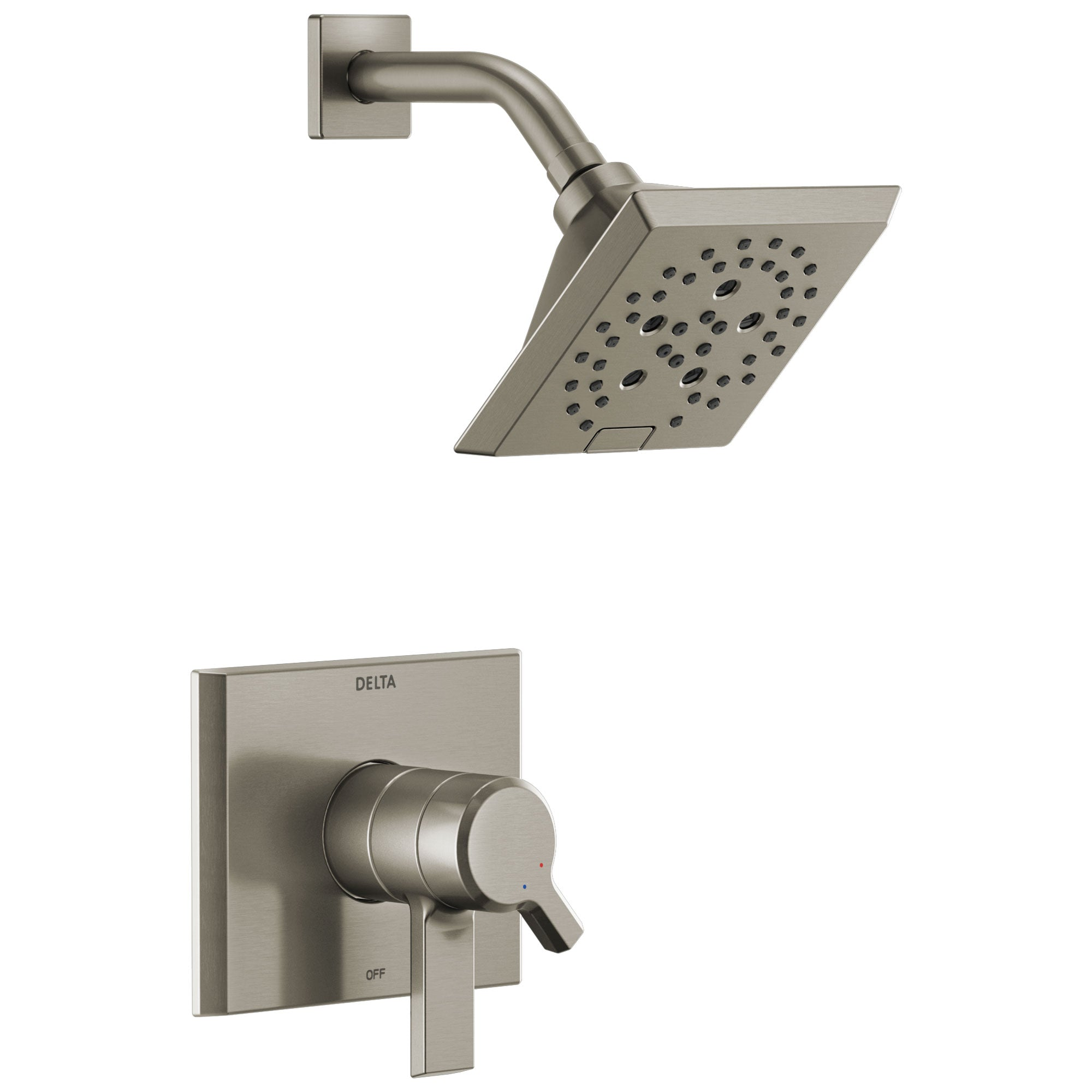 Delta Pivotal Modern Stainless Steel Finish H2Okinetic Shower only Faucet Includes 17 Series Cartridge, Handles, and Valve with Stops D3356V