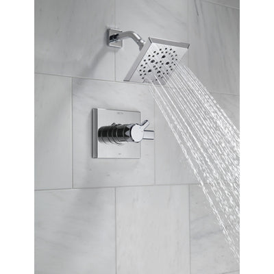 Delta Pivotal Modern Chrome Finish H2Okinetic Shower only Faucet Includes 17 Series Cartridge, Handles, and Valve with Stops D3362V