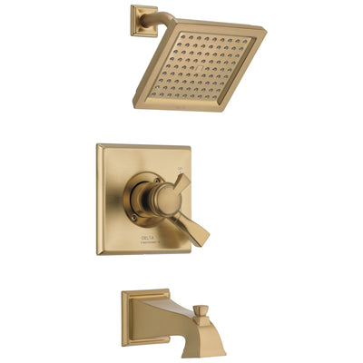 Delta Dryden Champagne Bronze Finish Water Efficient Tub & Shower Combo Faucet Includes 17 Series Cartridge, Handles, and Valve with Stops D3354V