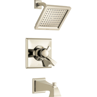 Delta Dryden Modern Square Polished Nickel Finish Tub and Shower Faucet Combination with Dual Temperature and Pressure Control INCLUDES Rough-in Valve with Stops D1129V