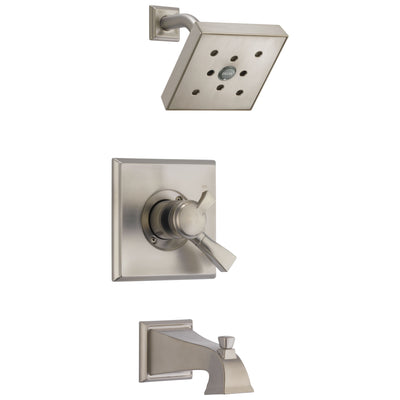Delta Dryden Stainless Steel Finish Monitor 17 Water Efficient Dual Control Tub and Shower Combination Includes Trim Kit and Rough Valve with Stops D2308V