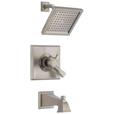 Delta Dryden Stainless Steel Finish Dual Temp and Pressure Control Modern Square Shower and Tub Combination Includes Trim Kit and Rough Valve without Stops D2309V