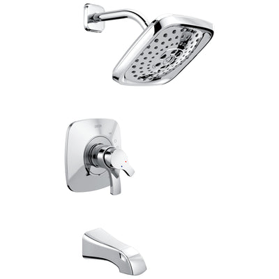 Delta Tesla Collection Chrome Modern Dual Pressure and Temperature Control Handle Tub and Shower Combination Faucet Includes Rough-in Valve without Stops D1964V