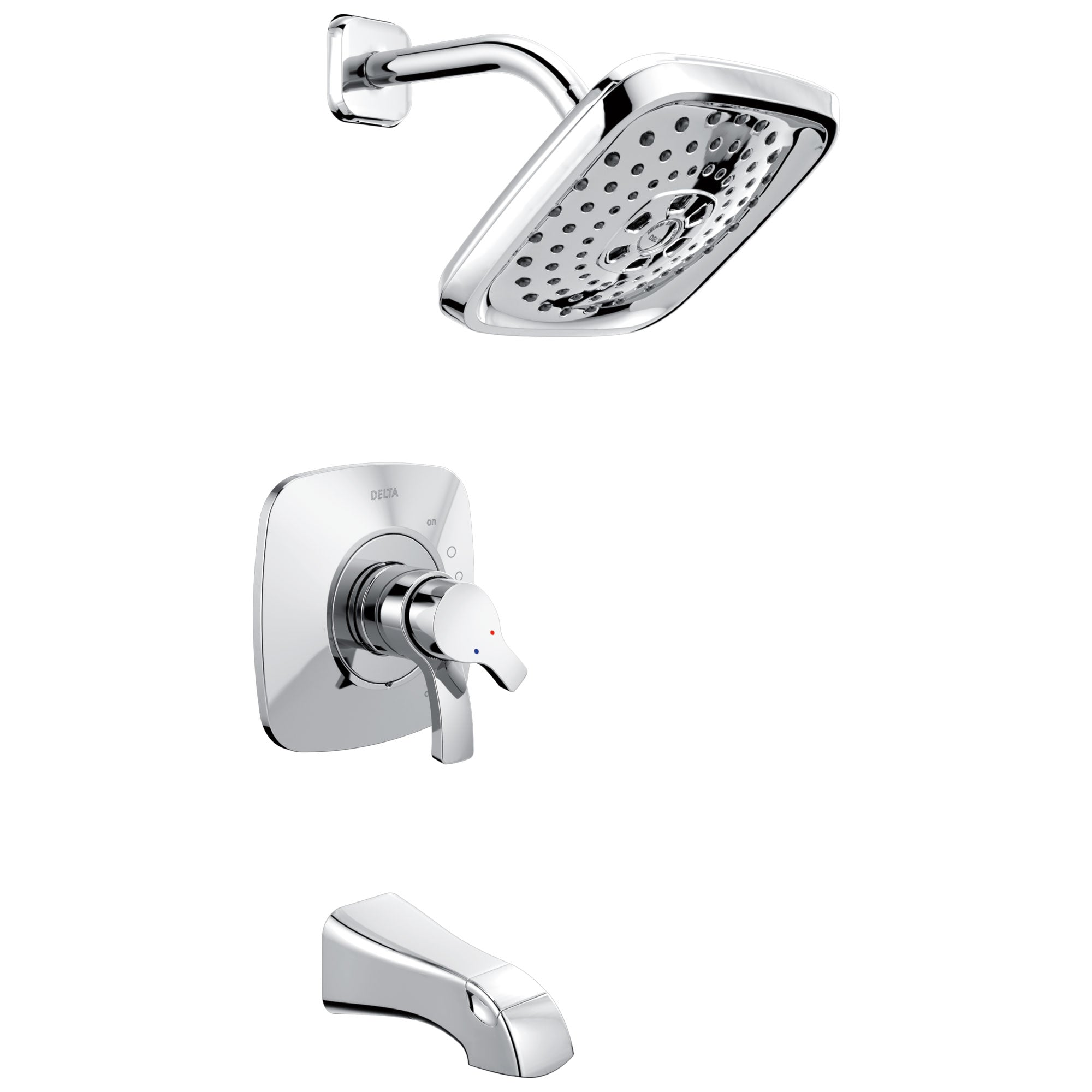 Delta Tesla Collection Chrome Modern Dual Pressure and Temperature Control Handle Tub and Shower Combination Faucet Includes Rough-in Valve with Stops D1965V