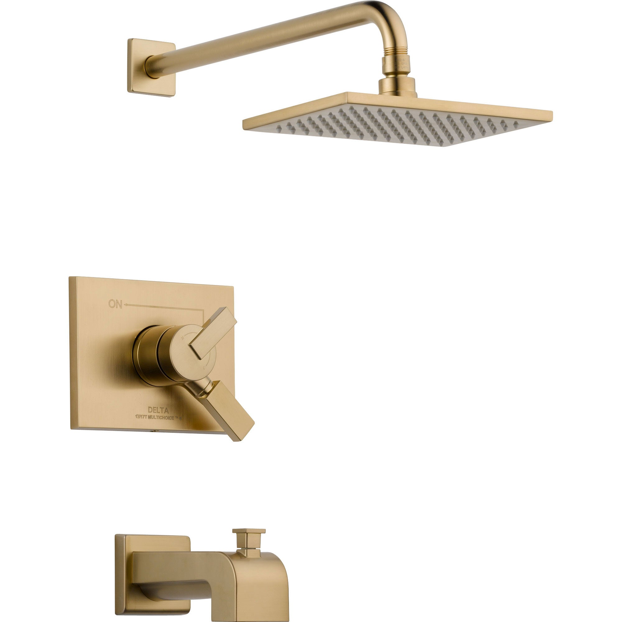 Delta Vero Champagne Bronze Square Two Control Tub and Shower Faucet Trim 555950