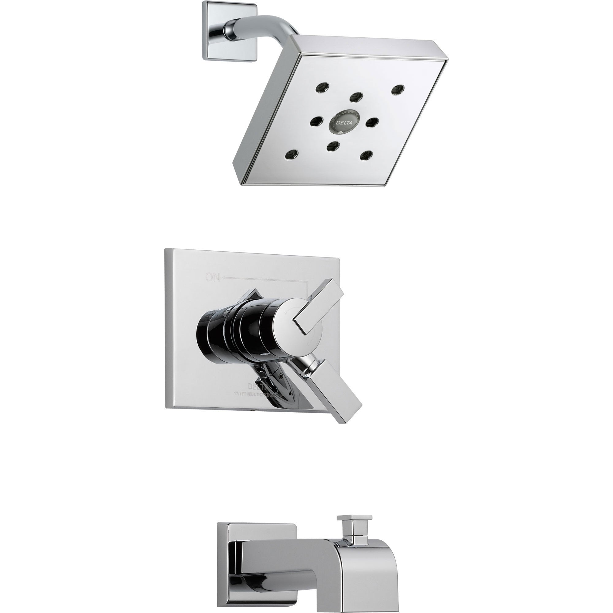 Delta Vero Chrome Modern Dual Control Tub and Shower Faucet with Valve D381V