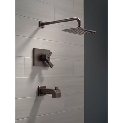 Delta Vero Venetian Bronze Finish Water Efficient Tub & Shower Combo Faucet Includes 17 Series Cartridge, Handles, and Valve without Stops D3345V