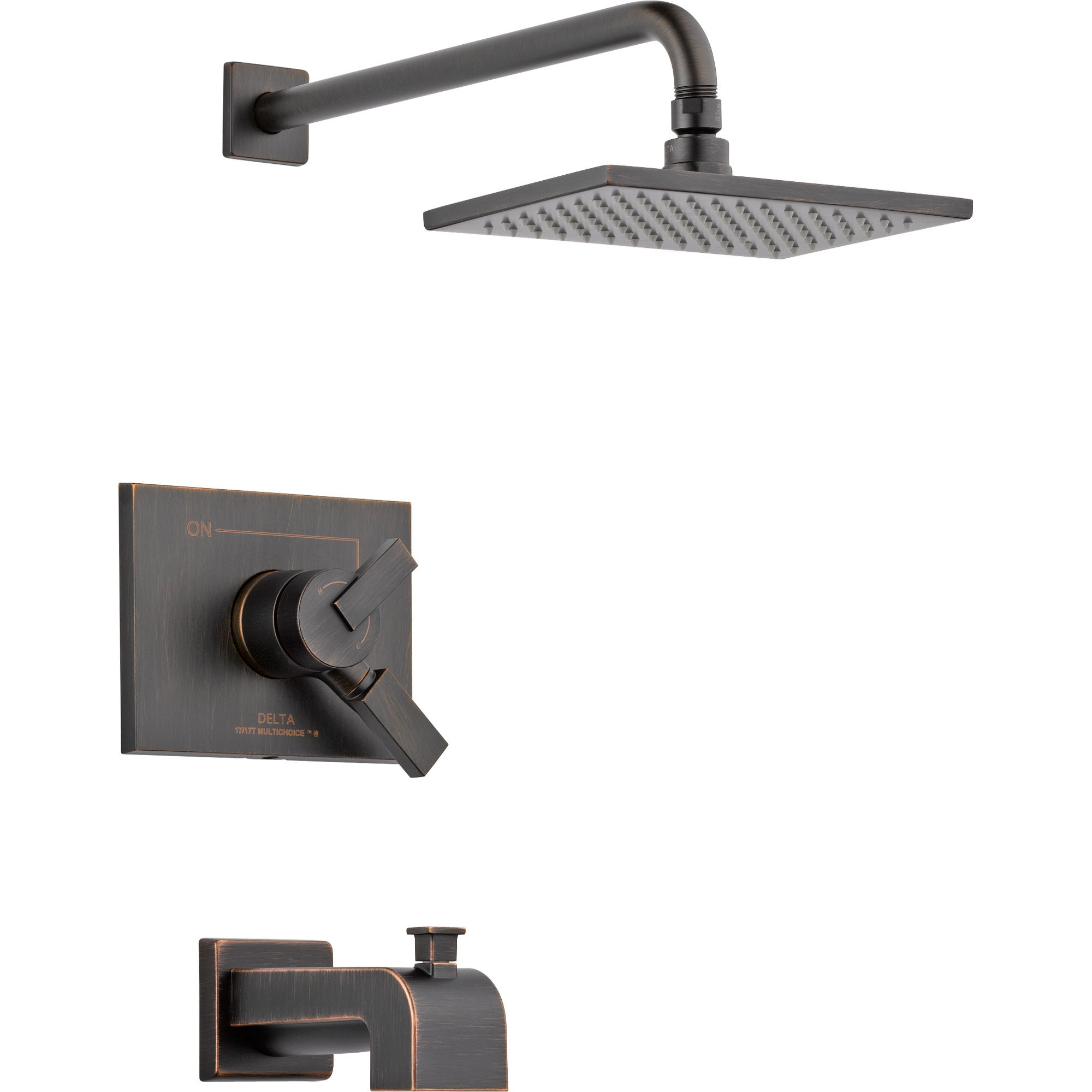 Delta Vero Venetian Bronze Square Two Control Tub and Shower Faucet Trim 555951
