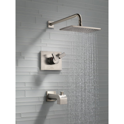 Delta Vero Stainless Steel Finish Water Efficient Tub & Shower Combo Faucet Includes 17 Series Cartridge, Handles, and Valve without Stops D3343V