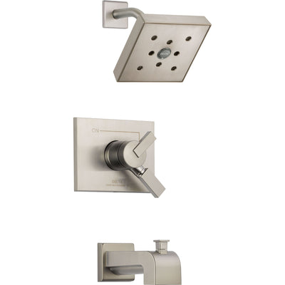Delta Vero Stainless Steel Finish Two Control Tub and Shower with Valve D385V