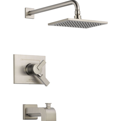 Delta Vero Stainless Steel Finish Square Two Control Tub and Shower Trim 521939