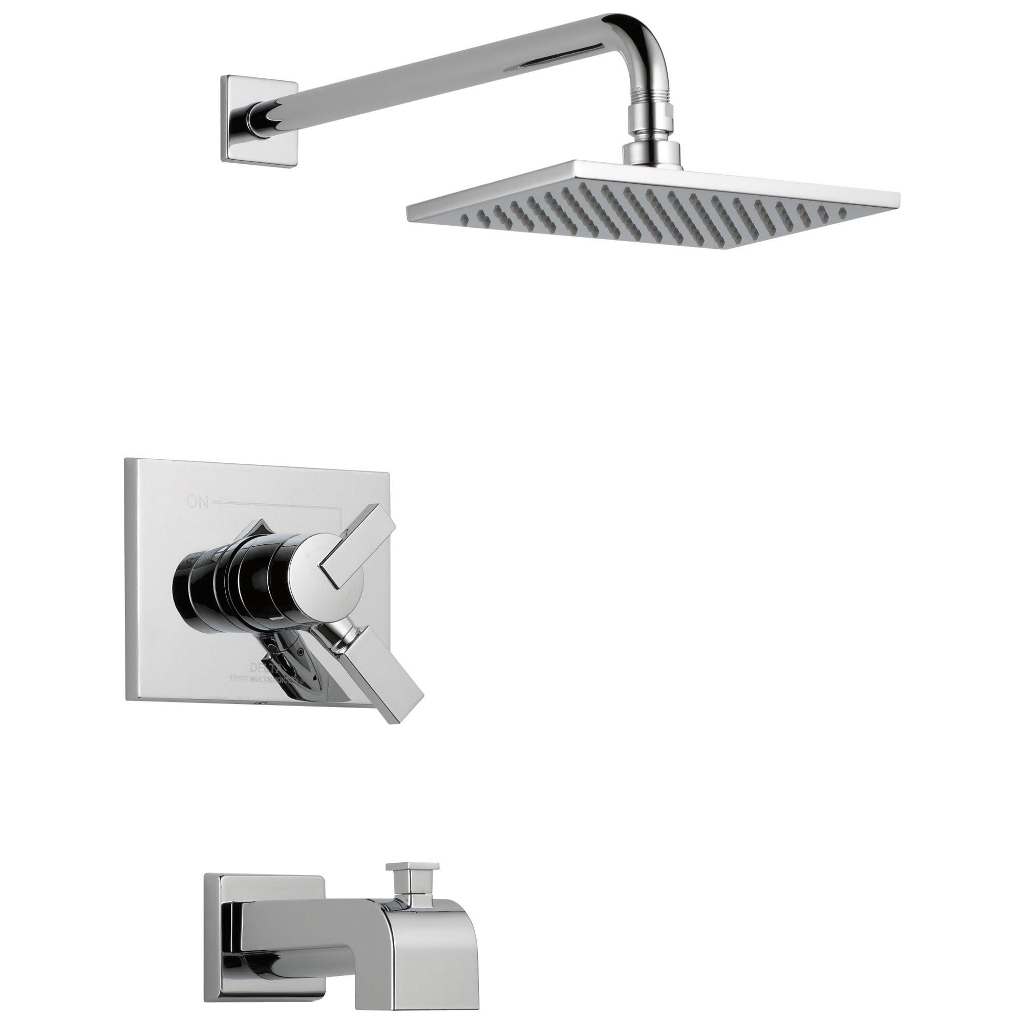 Delta Vero Chrome Finish Water Efficient Tub & Shower Combo Faucet Includes Monitor 17 Series Cartridge, Handles, and Valve with Stops D3342V