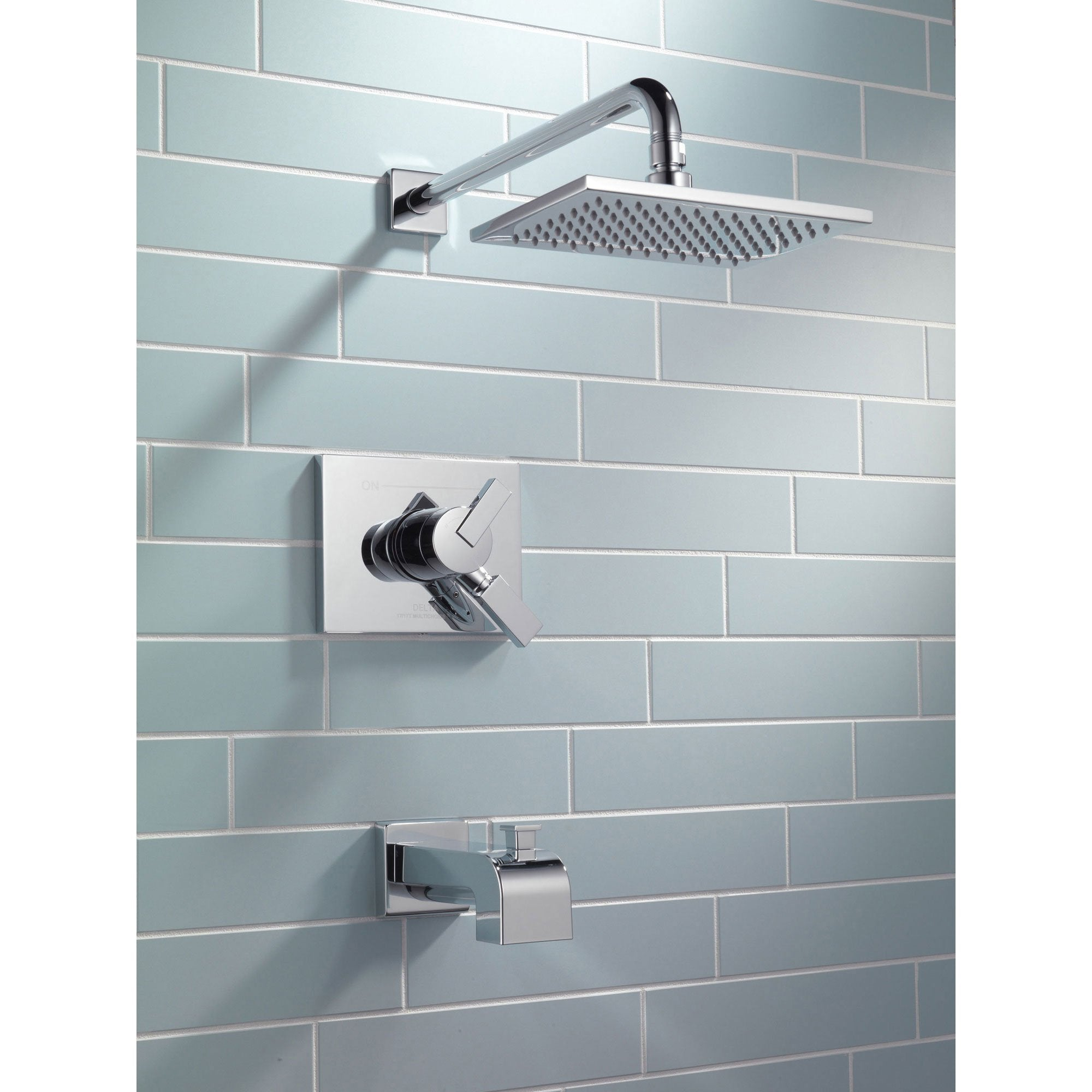 Delta Vero Chrome Square Dual Control Tub and Shower Faucet with ...