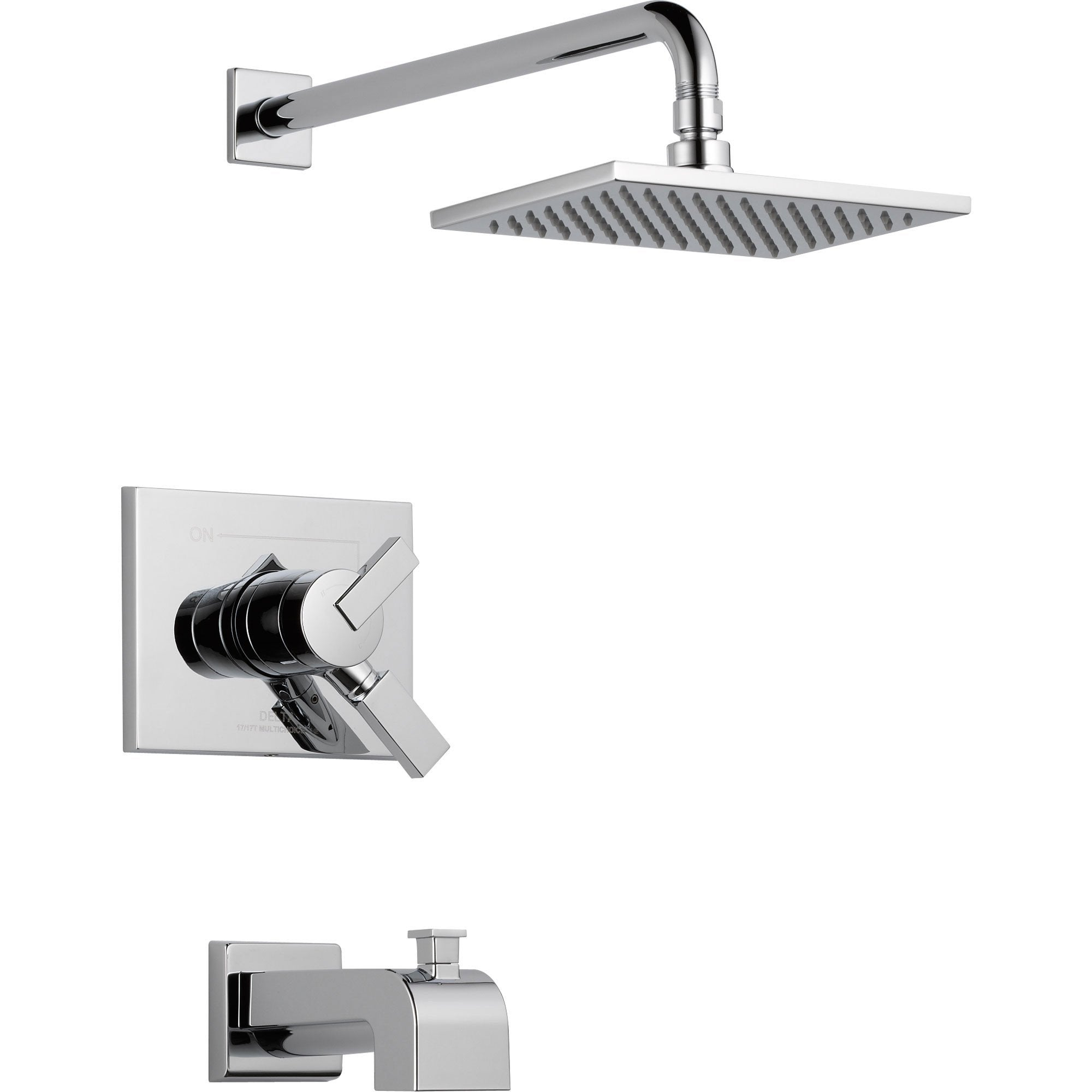 Delta Vero Chrome Square Dual Control Tub and Shower Faucet with Valve D378V