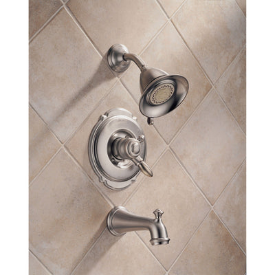 Delta Victorian Stainless Steel Finish Tub and Shower Faucet with Valve D392V