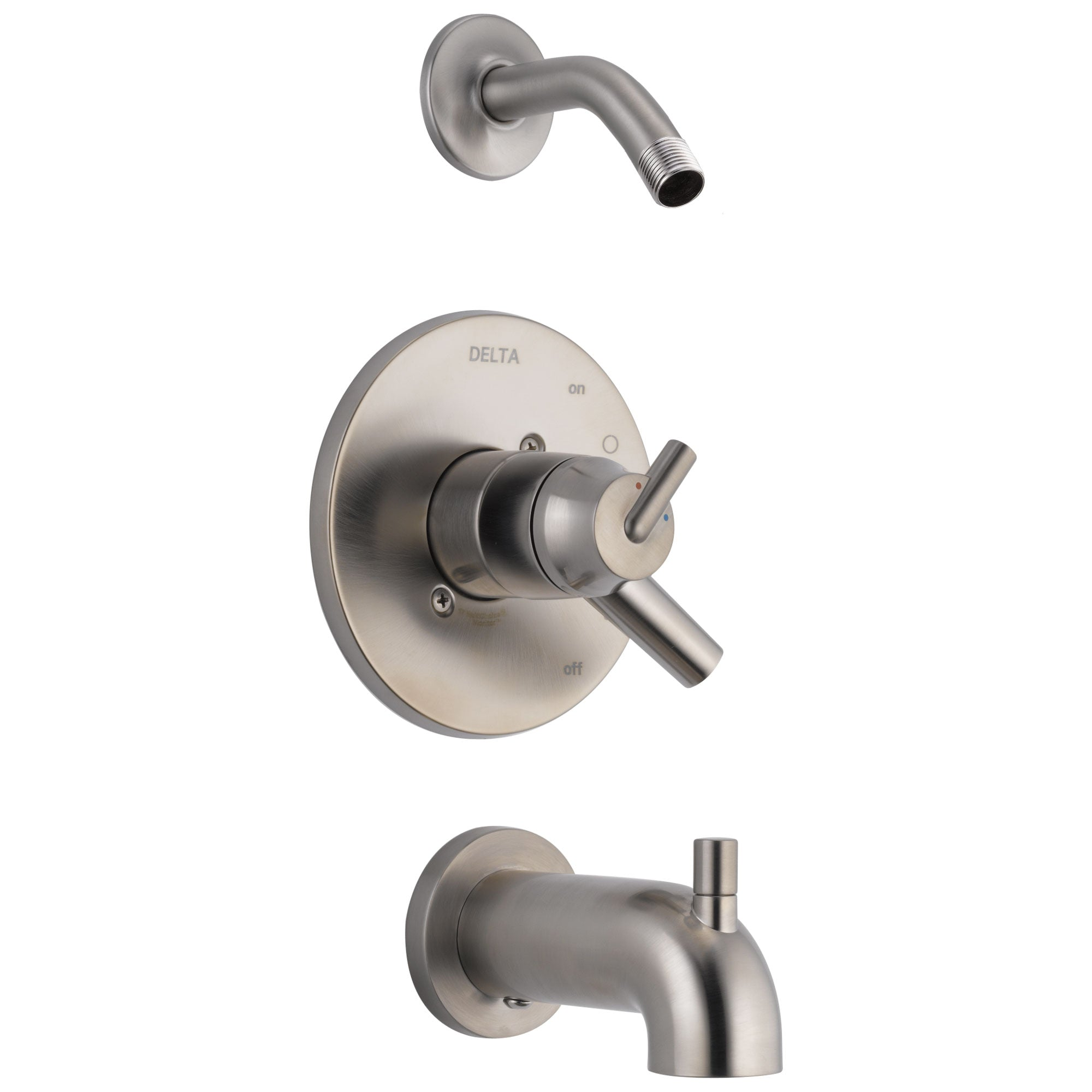 Delta Trinsic Collection Stainless Steel Finish Dual Temp and Volume Control Tub and Shower Combo Less Shower Head Includes Rough Valve with Stops D2300V